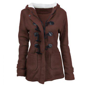 Medium Long Style Korean Style Hooded Coat - DARK COFFEE 2XL