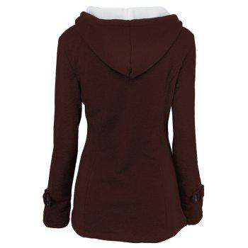 Medium Long Style Korean Style Hooded Coat - DARK COFFEE L