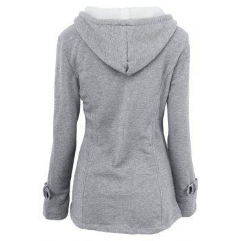 Medium Long Style Korean Style Hooded Coat - LIGHT GRAY L