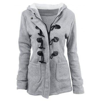 Medium Long Style Korean Style Hooded Coat - LIGHT GRAY XL