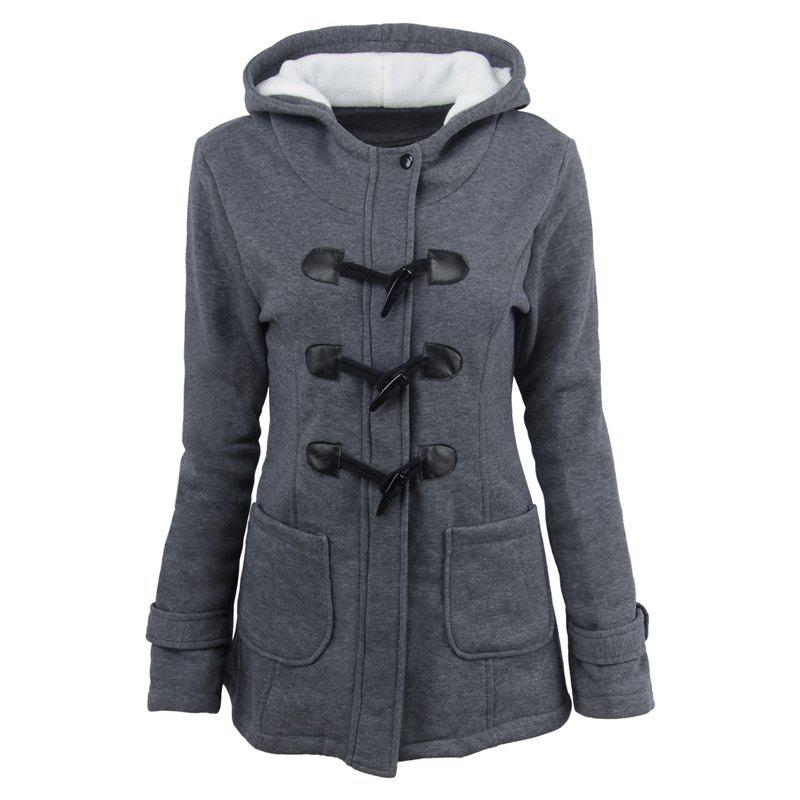 Medium Long Style Korean Style Hooded Coat - DEEP GRAY S