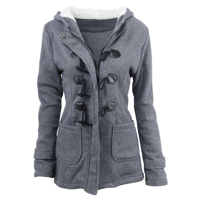 Medium Long Style Korean Style Hooded Coat - DEEP GRAY L