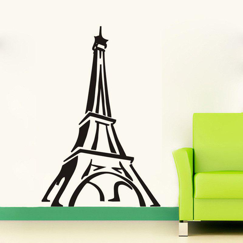 DSU Paris Tour Eiffel Wall Sticker Salon Chambre Restaurant TV Canapé Contexte Décoration - Noir 58X94CM