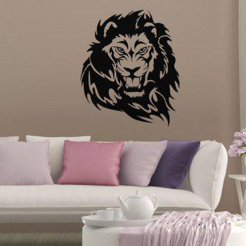 DSU Lion Head Wall Decal Vinyl Wall Sticker for Boys Bedroom - BLACK 58X49CM
