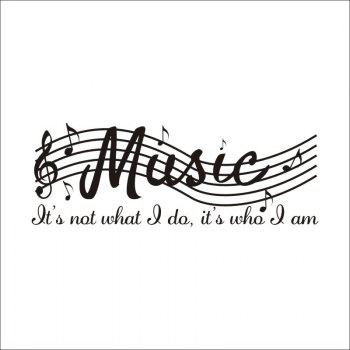 DSU Music Note Decal Removable Wall Sticker - BLACK 71X25.4CM