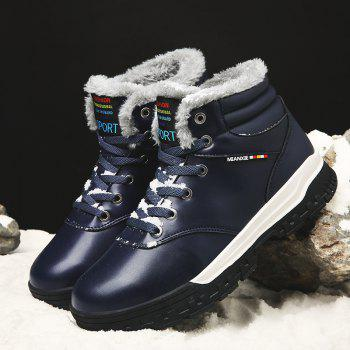Men Casual New Walking Classic Trend for Fashion Leather Outdoor Suede Boots Big Size Shoes - BLUE 40