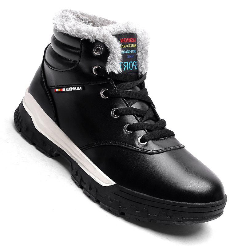Men Casual New Walking Classic Trend for Fashion Leather Outdoor Suede Boots Big Size Shoes - BLACK 40