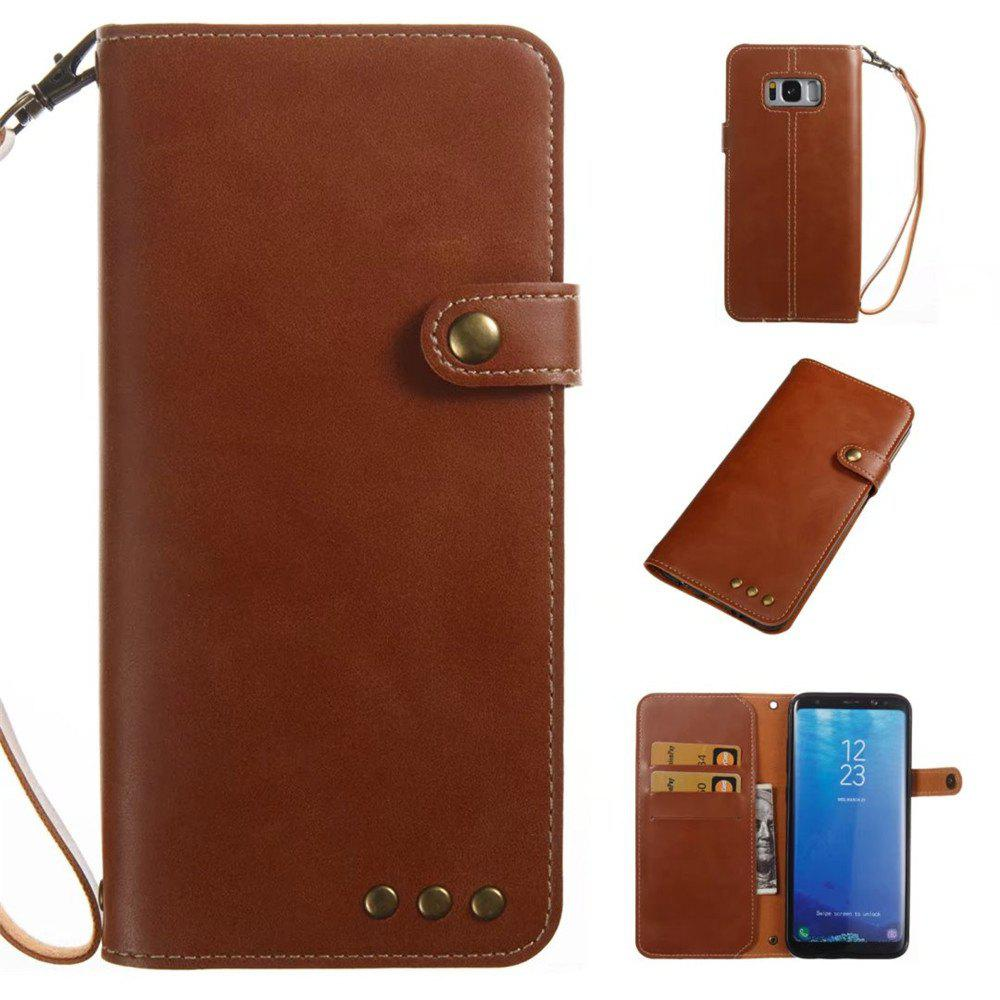 Card Holder Wallet Flip Full Body Solid Color Hard PU Leather Case Cover for Samsung Galaxy S8 Plus - BROWN
