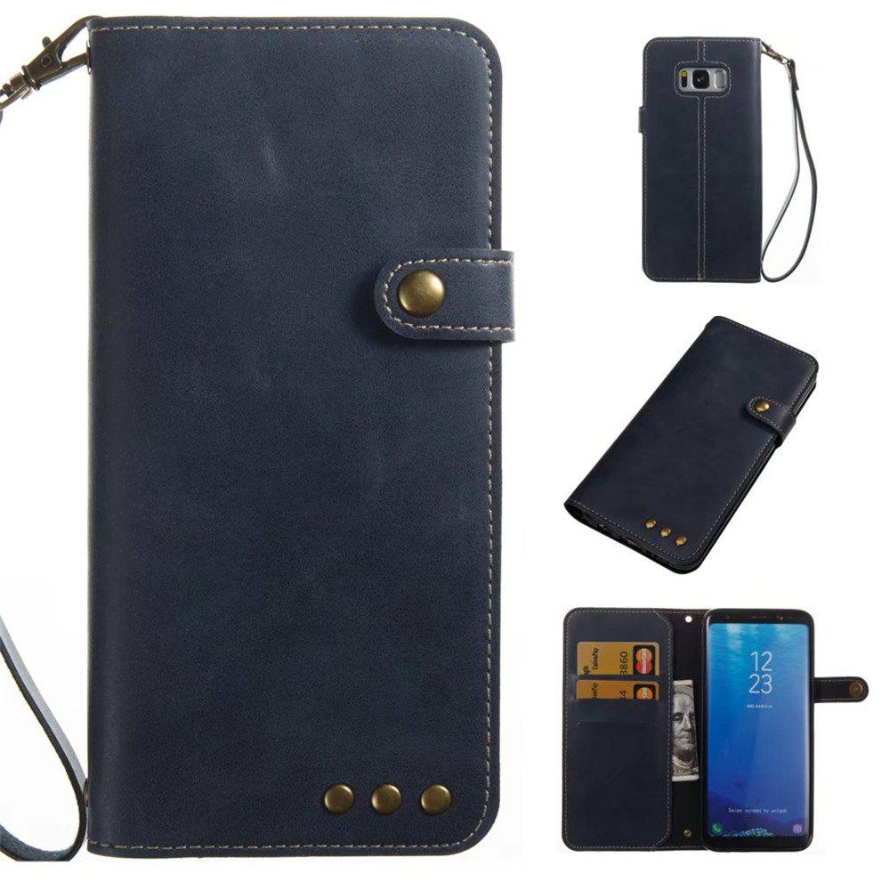 Card Holder Wallet Flip Full Body Solid Color Hard PU Leather Case Cover for Samsung Galaxy S8 Plus - ROYAL