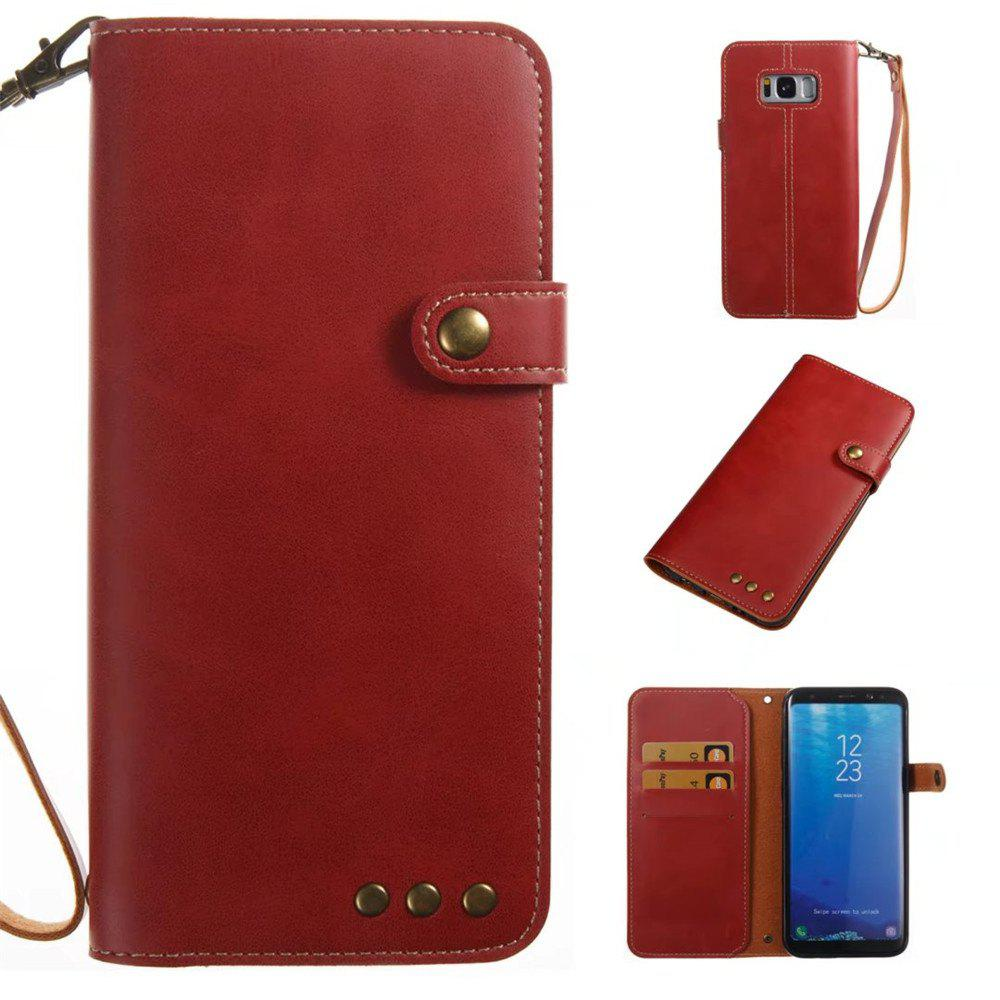 Card Holder Wallet Flip Full Body Solid Color Hard PU Leather Case Cover for Samsung Galaxy S8 Plus - BRIGHT RED