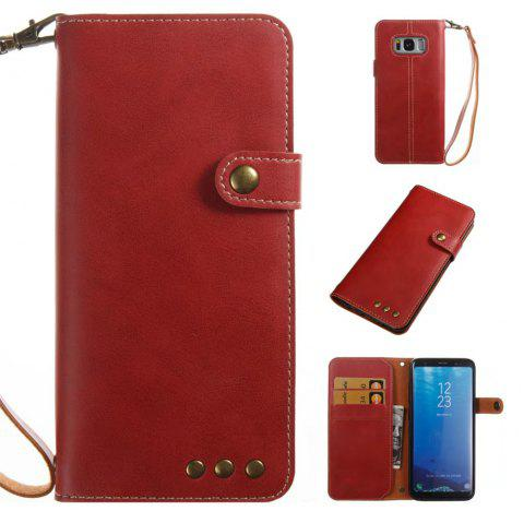 Card Holder Wallet Flip Full Body Solid Color Hard PU Leather Case Cover for Samsung Galaxy S8 - BRIGHT RED