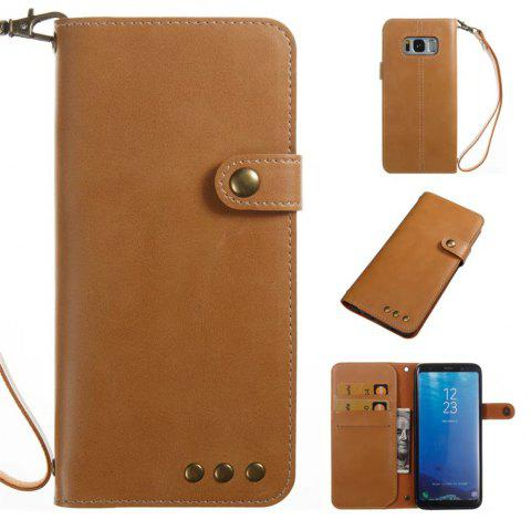 Card Holder Wallet Flip Full Body Solid Color Hard PU Leather Case Cover for Samsung Galaxy S8 - KHAKI
