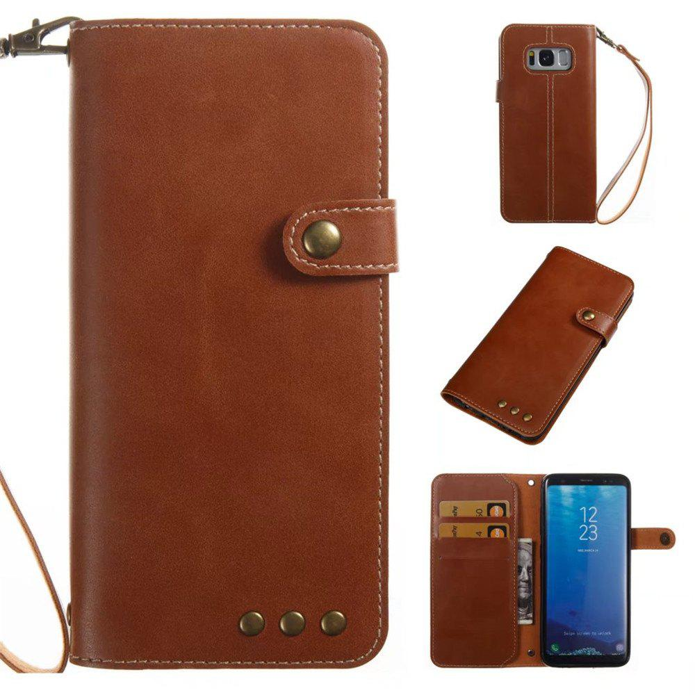 Card Holder Wallet Flip Full Body Solid Color Hard PU Leather Case Cover for Samsung Galaxy S8 - BROWN