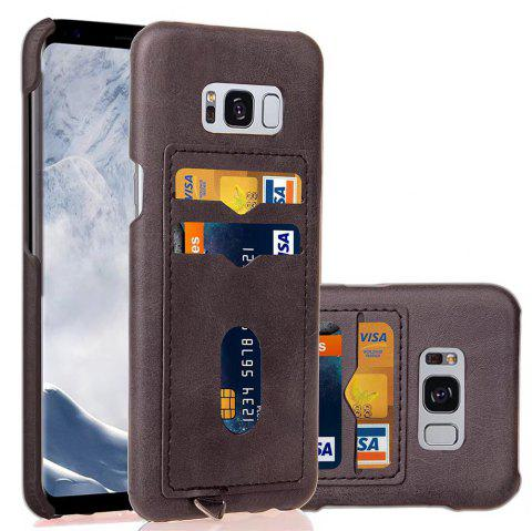 Card Holder Back Cover Solid Color Hard PU Leather Case for Samsung Galaxy S8 - DEEP GRAY