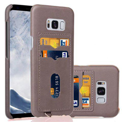 Card Holder Back Cover Solid Color Hard PU Leather Case for Samsung Galaxy S8 - LIGHT GRAY