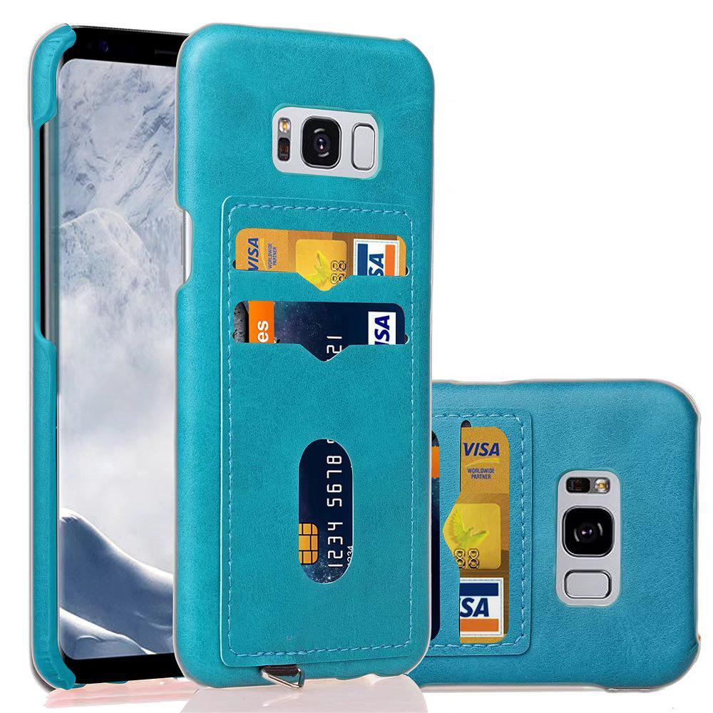 Card Holder Back Cover Solid Color Hard PU Leather Case for Samsung Galaxy S8 - BLUE