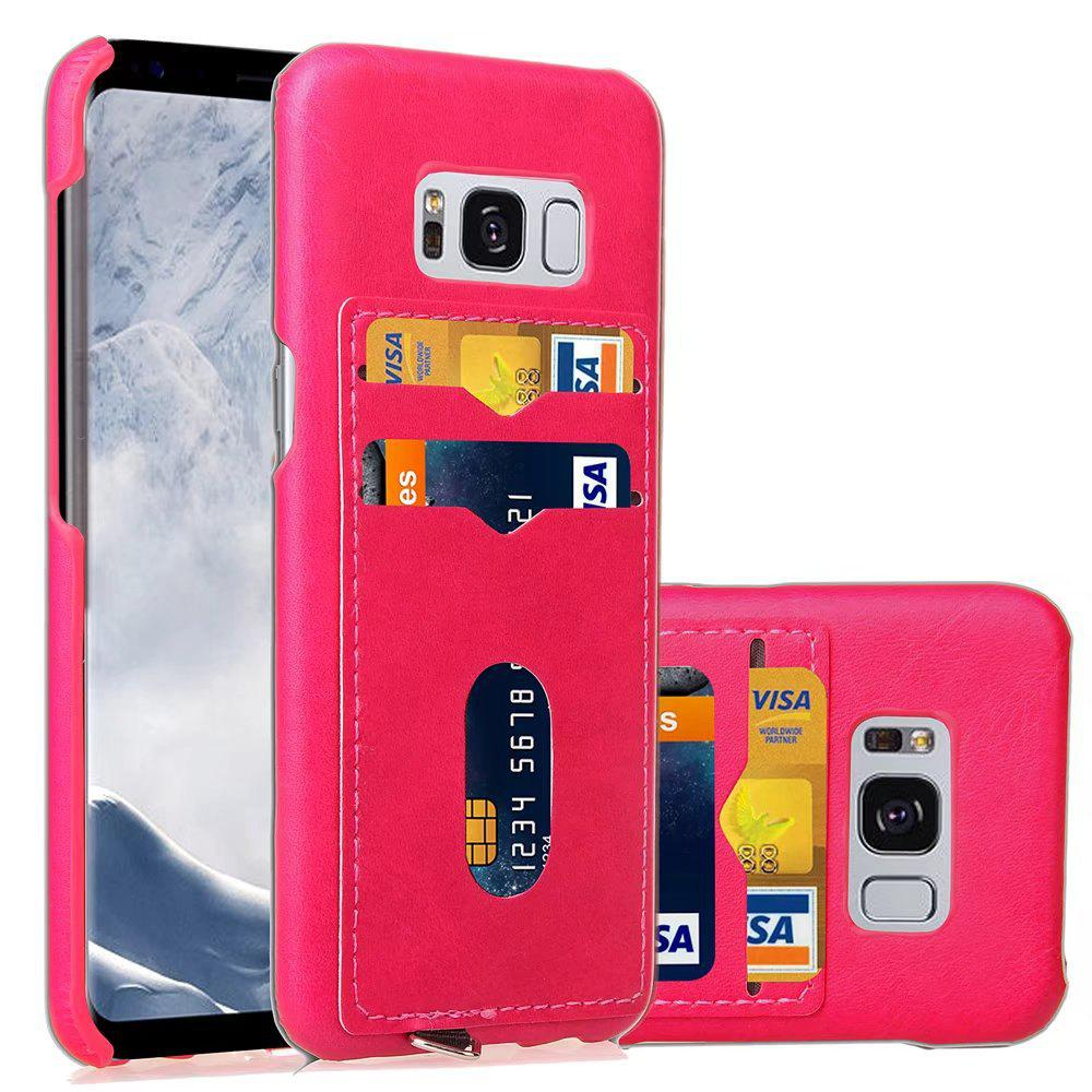 Card Holder Back Cover Solid Color Hard PU Leather Case for Samsung Galaxy S8 - ROSE RED