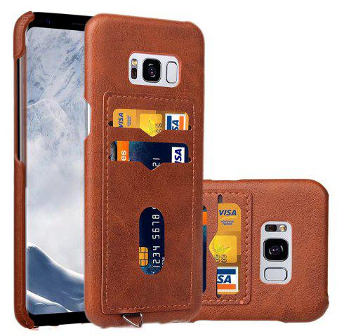 Card Holder Back Cover Solid Color Hard PU Leather Case for Samsung Galaxy S8 Plus - BROWN