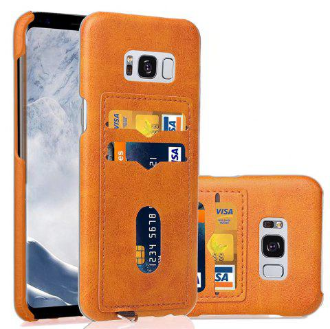 Card Holder Back Cover Solid Color Hard PU Leather Case for Samsung Galaxy S8 Plus - YELLOW
