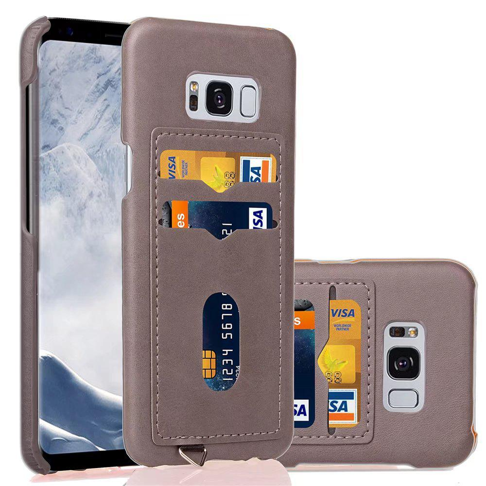 Card Holder Back Cover Solid Color Hard PU Leather Case for Samsung Galaxy S8 Plus - LIGHT GRAY