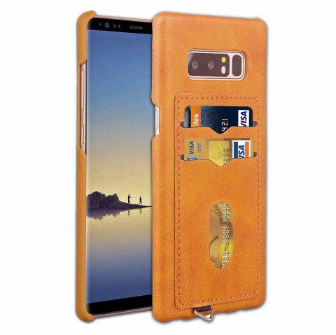 Card Holder Back Cover Solid Color Hard PU Leather Case for Samsung Galaxy Note 8 - GOLDEN BROWN