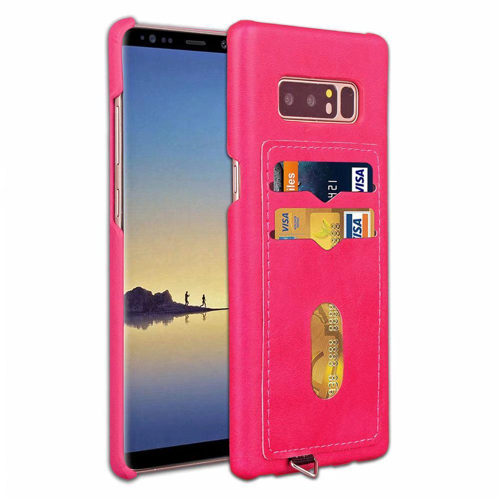 Card Holder Back Cover Solid Color Hard PU Leather Case for Samsung Galaxy Note 8 - ROSE RED