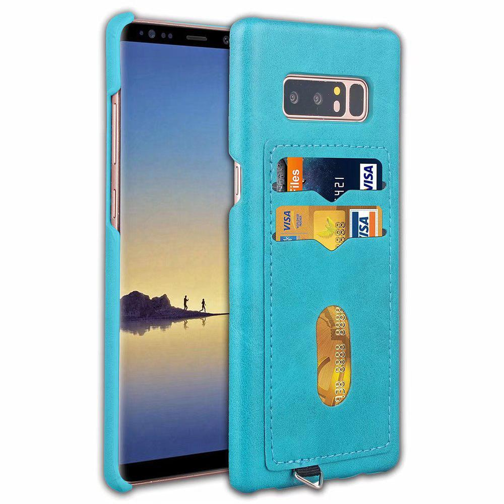 Card Holder Back Cover Solid Color Hard PU Leather Case for Samsung Galaxy Note 8 - CELESTE
