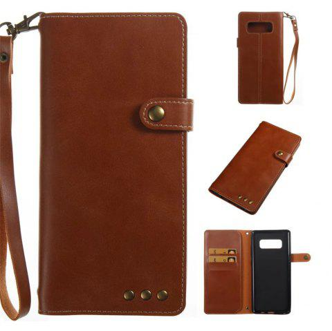 Card Holder Wallet Flip Full Body Solid Color Hard PU Leather Case Cover for Samsung Galaxy Note 8 - BROWN