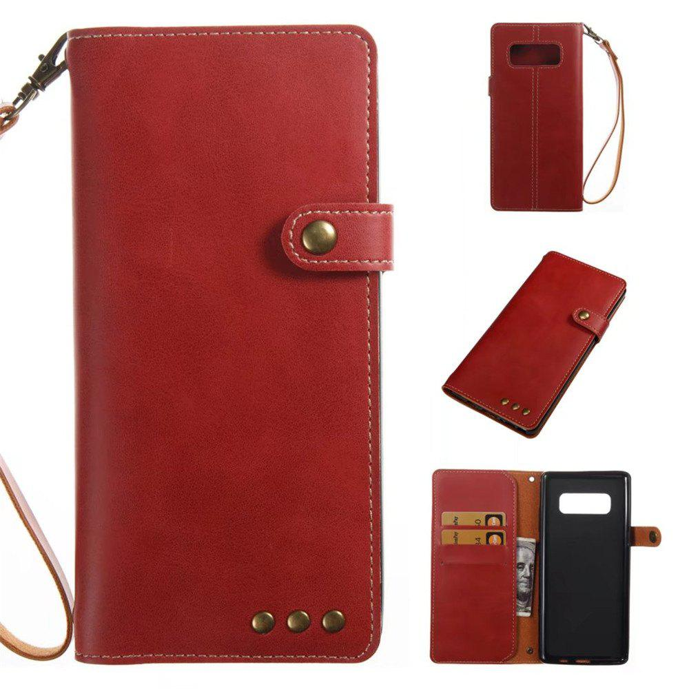Card Holder Wallet Flip Full Body Solid Color Hard PU Leather Case Cover for Samsung Galaxy Note 8 - BRIGHT RED