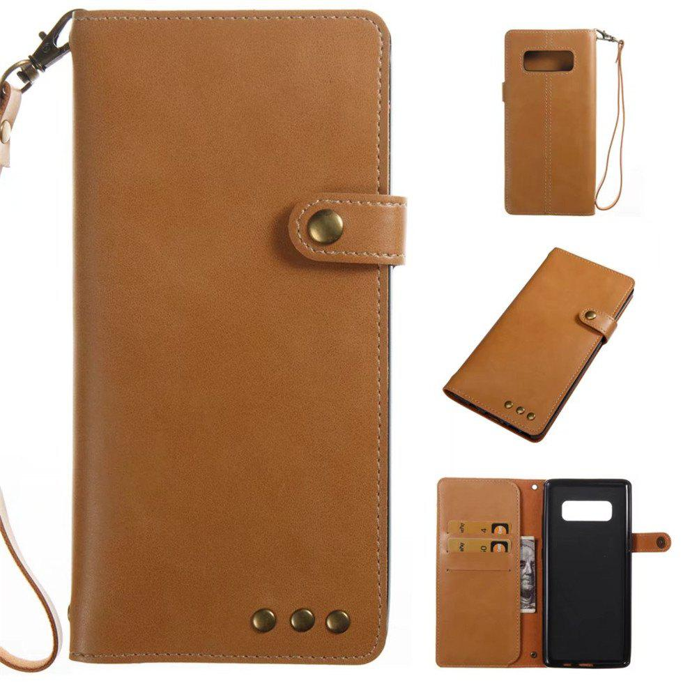 Card Holder Wallet Flip Full Body Solid Color Hard PU Leather Case Cover for Samsung Galaxy Note 8 - KHAKI