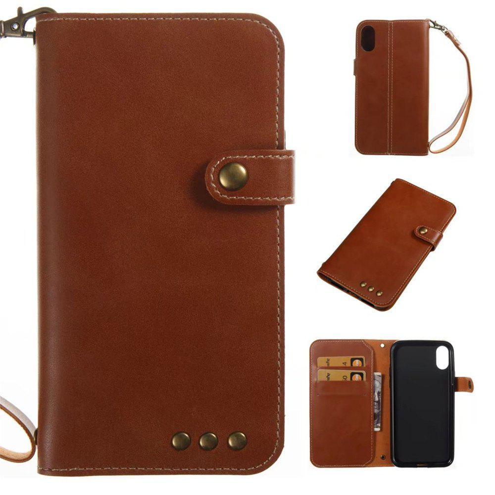 Card Holder Wallet Flip Full Body Solid Color Hard PU Leather Case Cover for iPhone X - BROWN