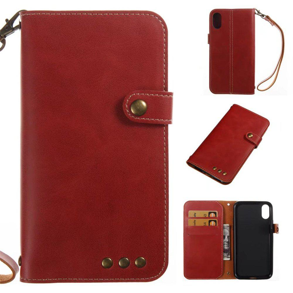 Card Holder Wallet Flip Full Body Solid Color Hard PU Leather Case Cover for iPhone X - BRIGHT RED