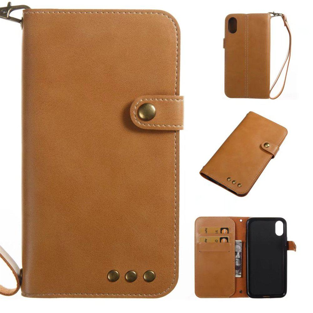 Card Holder Wallet Flip Full Body Solid Color Hard PU Leather Case Cover for iPhone X - KHAKI