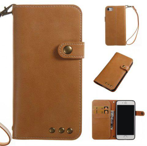 Card Holder Wallet Flip Full Body Solid Color Hard PU Leather Case Cover for iPhone 8 / 7 - KHAKI