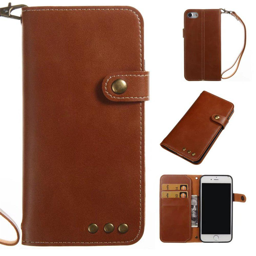 Card Holder Wallet Flip Full Body Solid Color Hard PU Leather Case Cover for iPhone 8 / 7 - BROWN
