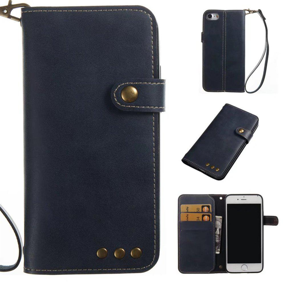 Card Holder Wallet Flip Full Body Solid Color Hard PU Leather Case Cover for iPhone 8 / 7 - ROYAL