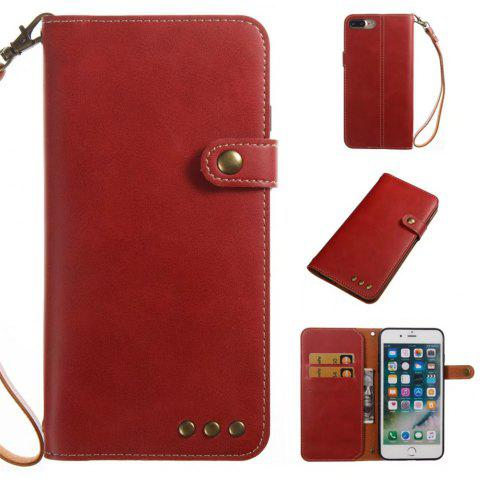 Card Holder Wallet Flip Full Body Solid Color Hard PU Leather Case Cover for iPhone 8 Plus / 7 Plus - BRIGHT RED