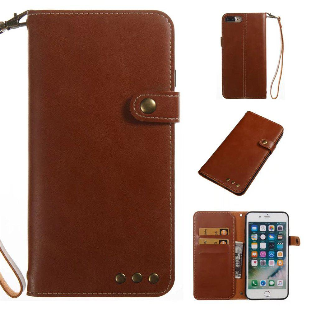 Card Holder Wallet Flip Full Body Solid Color Hard PU Leather Case Cover for iPhone 8 Plus / 7 Plus - BROWN