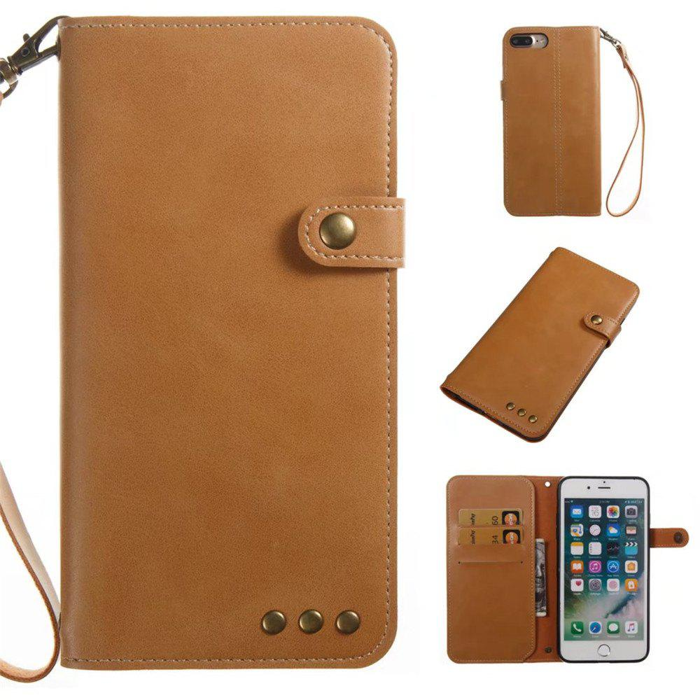 Card Holder Wallet Flip Full Body Solid Color Hard PU Leather Case Cover for iPhone 8 Plus / 7 Plus - KHAKI