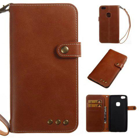 Card Holder Wallet Flip Full Body Solid Color Hard PU Leather Case Cover for Huawei P10 Lite - BROWN