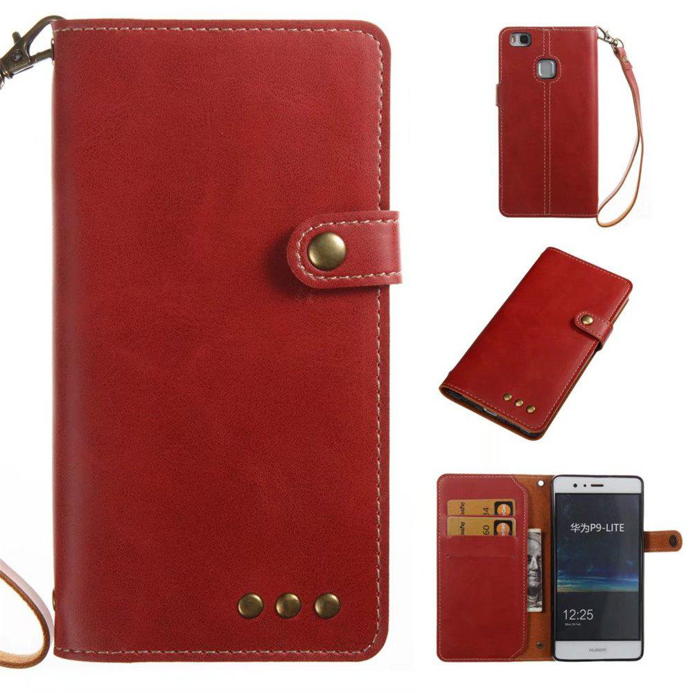 Card Holder Wallet Flip Full Body Solid Color Hard PU Leather Case Cover for Huawei P9 Lite - BRIGHT RED
