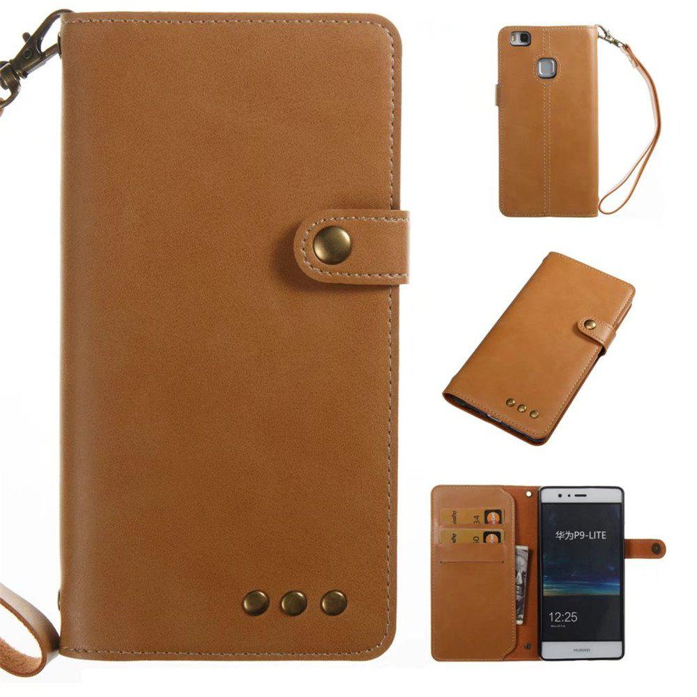 Card Holder Wallet Flip Full Body Solid Color Hard PU Leather Case Cover for Huawei P9 Lite - KHAKI