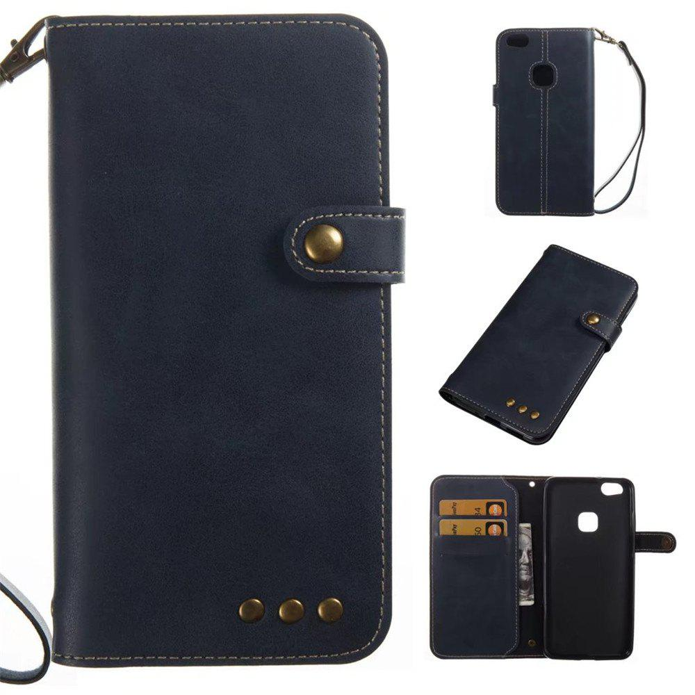 Card Holder Wallet Flip Full Body Solid Color Hard PU Leather Case Cover for Huawei P10 - ROYAL