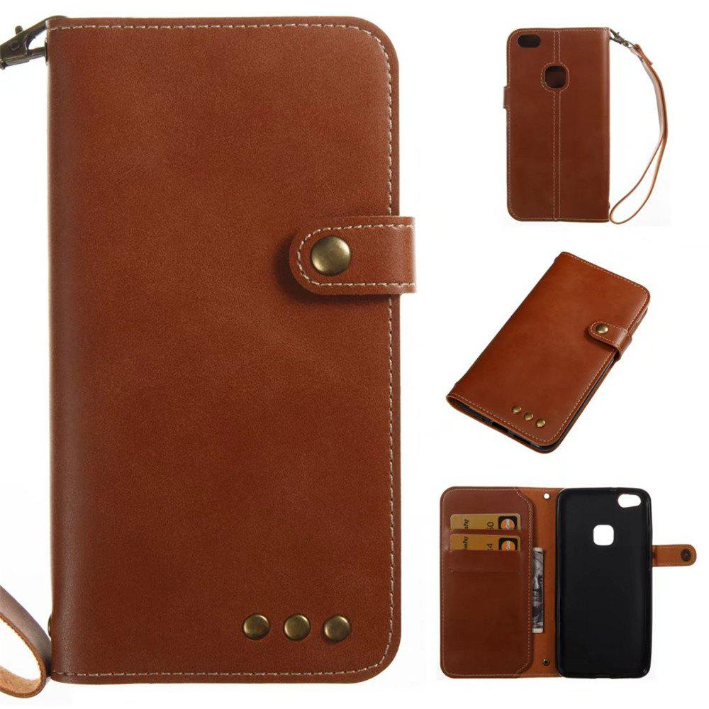 Card Holder Wallet Flip Full Body Solid Color Hard PU Leather Case Cover for Huawei P10 - BROWN