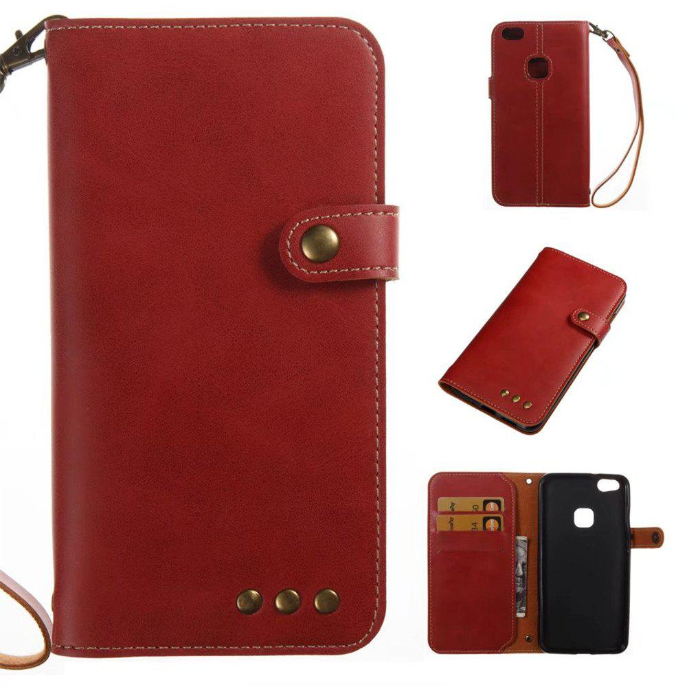 Card Holder Wallet Flip Full Body Solid Color Hard PU Leather Case Cover for Huawei P10 - BRIGHT RED