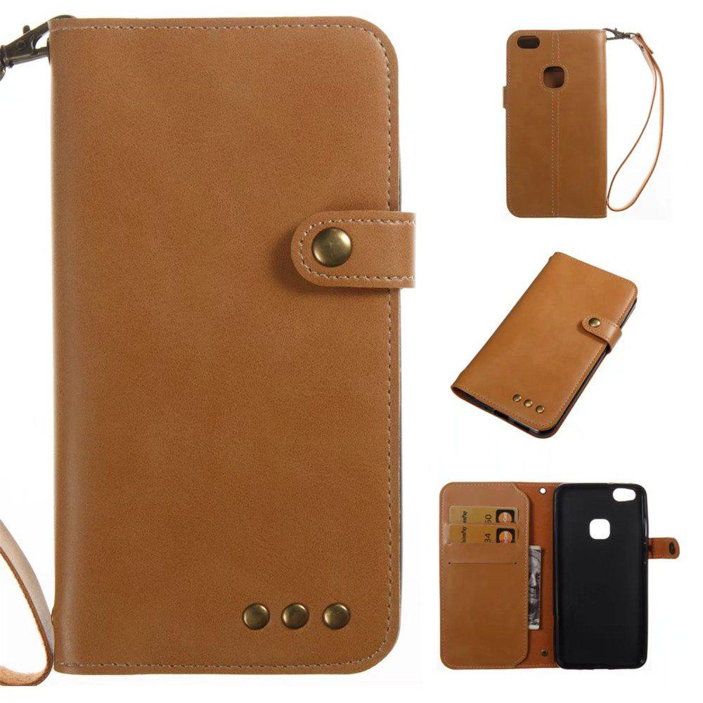 Card Holder Wallet Flip Full Body Solid Color Hard PU Leather Case Cover for Huawei P10 - KHAKI