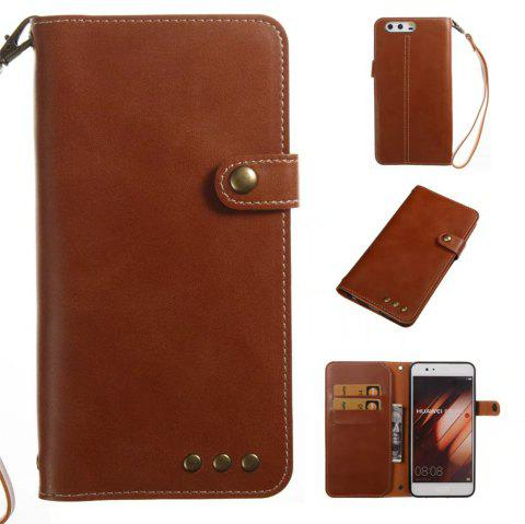 Card Holder Wallet Flip Full Body Solid Color Hard PU Leather Case Cover for Huawei P10 Plus - BROWN