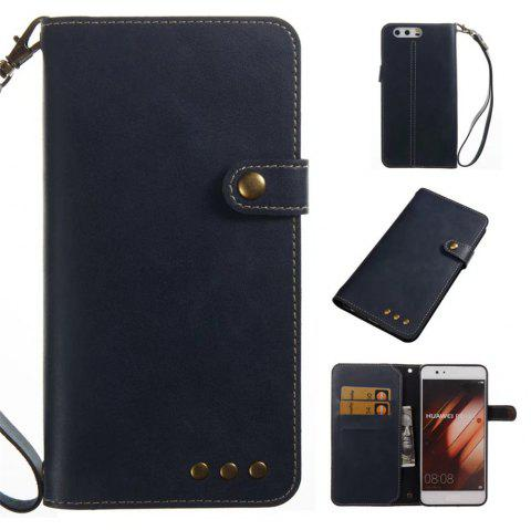Card Holder Wallet Flip Full Body Solid Color Hard PU Leather Case Cover for Huawei P10 Plus - ROYAL