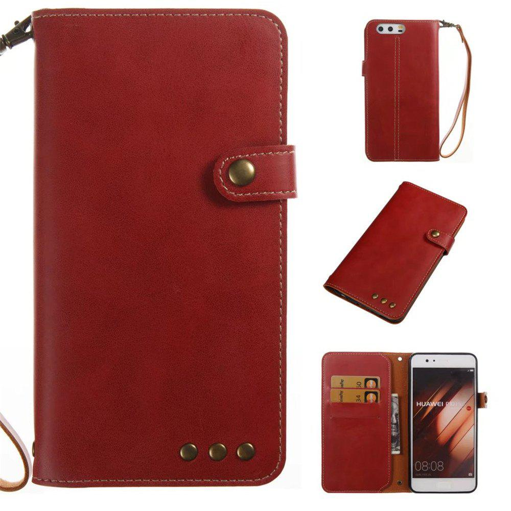 Card Holder Wallet Flip Full Body Solid Color Hard PU Leather Case Cover for Huawei P10 Plus - BRIGHT RED