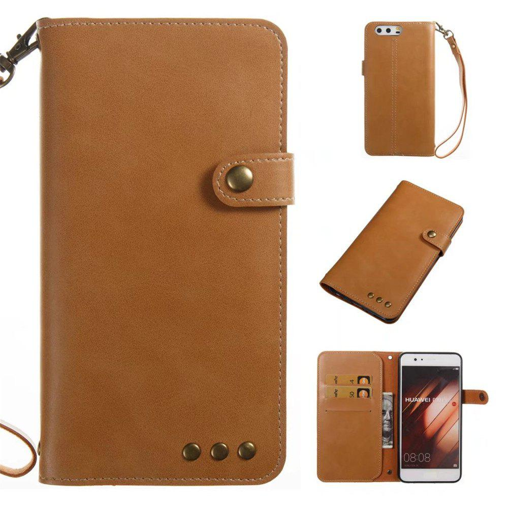 Card Holder Wallet Flip Full Body Solid Color Hard PU Leather Case Cover for Huawei P10 Plus - KHAKI